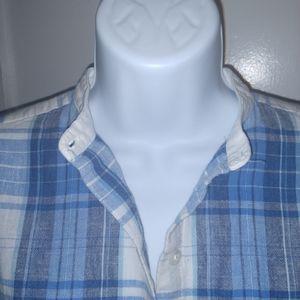 CHAPS blue and white button down shirt. EUC